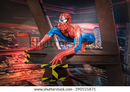 BANGKOK -JAN 29: A waxwork of Spiderman on display at Madame Tussauds on January 29, 2016 in Bangkok, Thailand. Madame Tussauds' newest branch hosts waxworks of numerous stars and celebrities - stock photo