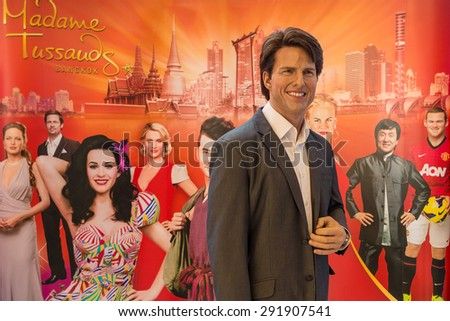 BANGKOK - JAN 30: A waxwork of Tom Cruise on display at Madame Tussauds on Jan 30, 2015 in Bangkok, Thailand. Madame Tussauds' newest branch hosts waxworks of numerous stars and celebrities. - stock photo