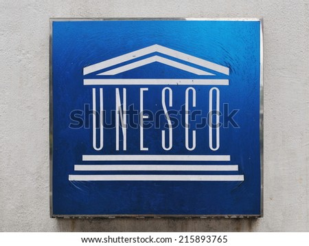 BANGKOK - JAN 12: View of a UNESCO plaque at the main office in the Thai capital on Jan 12, 2011 in Bangkok, Thailand. Founded in 1946 UNESCO has 195 member states including Thailand. - stock photo