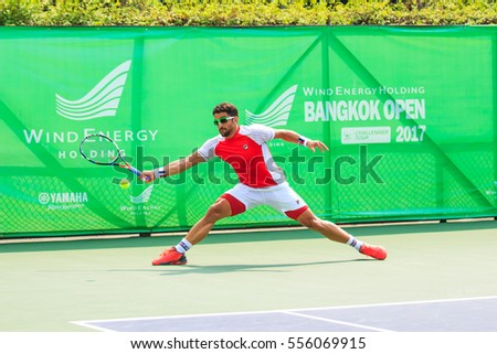 BANGKOK - January 14 : Janko Tipsarevic of serbia in Wind Energy Holding Bangkok Open II 2017 Final match at Rama Gardens Hotel on January 14, 2017 in Bangkok, Thailand.