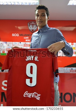 BANGKOK - JANUARY 8: Jay Bothroyd footballer from England poses during opening the new player of Muangthong United at SCG Stadium on January 8, 2014 in Bangkok.  - stock photo