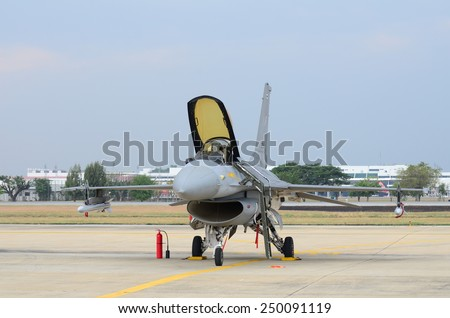 BANGKOK - JANUARY 10: the F-16 performances on children in Bangkok Thailand Air Force Base is located in central Thailand, January 10, 2015, in Bangkok, Thailand. - stock photo