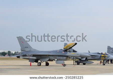 BANGKOK - JANUARY 10: the JAS 39 Gripen performances on children in Bangkok Thailand Air Force Base is located in central Thailand, January 10, 2015, in Bangkok, Thailand. - stock photo