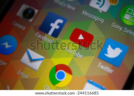 BANGKOK-JANUARY11 2015: Youtube Icon on Phone.  YouTube is a video-sharing website headquartered in San Bruno, California. - stock photo