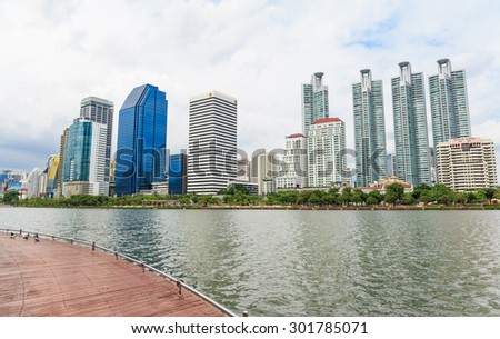 BANGKOK - JULY,31 : Cityscape of Benjakitti park city downtown.Benjakitti Park is located in the heart of Bangkok near business area and hotel .THAILAND JULY,31 2015