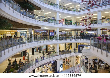 BANGKOK - JULY 9 2016: People are shopping at Central World on July 9, 2016 in Bangkok. It is a shopping plaza and complex which is the sixth largest shopping complex in the world.