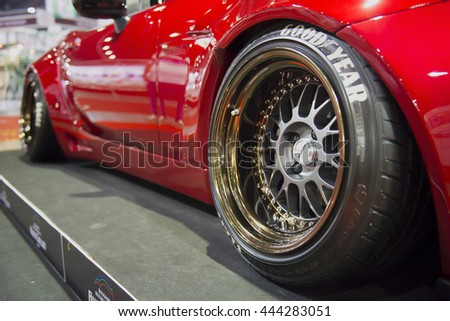 Red Car Gold Wheels Stock Photo 6481771 Shutterstock