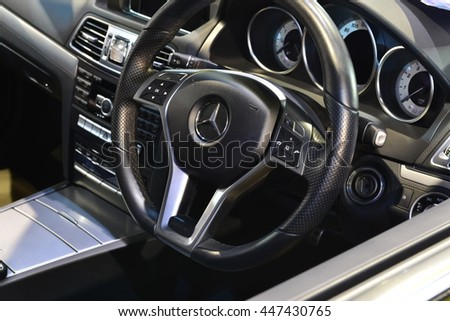 BANGKOK - JUNE 23 : Benz interior on display at Bangkok International Auto Salon 2016 on June 23, 2016 in Bangkok, Thailand. Event of decoration and modify car.