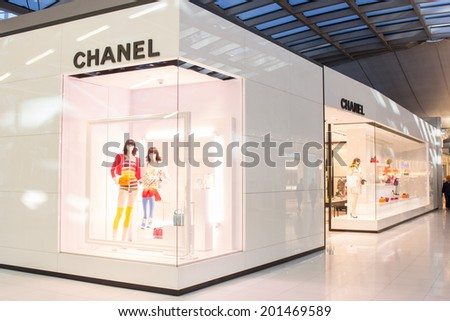 BANGKOK - JUNE 17: Chanel Store in Suvarnabhumi Airport, Bangkok on Jun 17, 2014. Chanel is a high fashion house, specializes in clothes, luxury goods and fashion accessories.