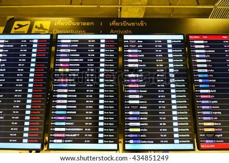BANGKOK - JUNE 2: departures board at Suvarnabhumi International Airport on June 2, 2016 in Bangkok, Thailand. The airport handles 50 million passengers annually. - stock photo