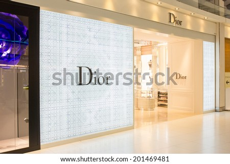 BANGKOK - JUNE 17: Dior store in Suvarnabhumi International Airport, Bangkok on Jun 17, 2014. It is a French company controlled and chaired by Bernard Arnault who also heads Louis Vuitton.