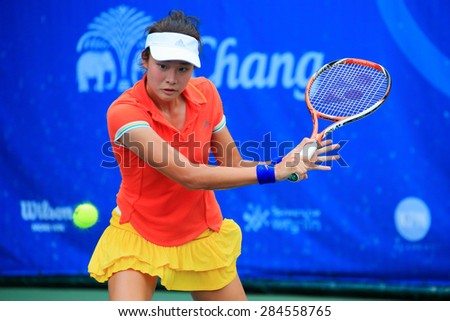 BANGKOK, JUNE 4 : Nicha Lertpitaksin (Thai) action in Chang ITF Pro Circuit International Tennis Federation 2015 at Rama Gardens Hotel on June 4, 2015 in Bangkok, Thailand.