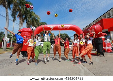 BANGKOK - JUNE 10, 2016 People who are interested and soccer lovers flag dress , holding a football festival in Europe in 2016 , Bangkok, Thailand - stock photo