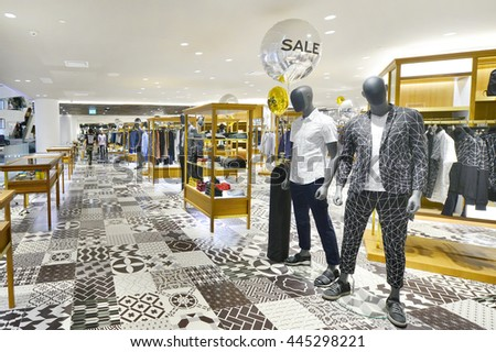 BANGKOK - JUNE 29: Shop in Siam Discovery and the new concept is new The Biggest Arena of Lifestyle Experiments. On June 29, 2016, it is a shopping mall in the big centres Bangkok, Thailand - stock photo