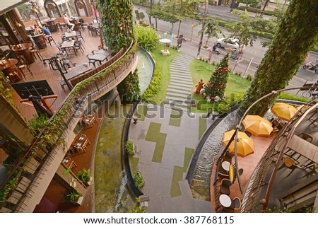 Bangkok, Khlong Tan Nuea district, Thailand - January 3, 2016: Rain Hill Plaza commercial complex in Bangkok, with view over the Wine Connection Bar and Bistro terrace. - stock photo