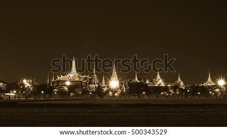 bangkok landmark, grand palace and the temple of the Emerald Buddha, the Pramane Ground at night in monotone color