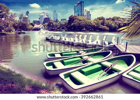 bangkok .lumphini park.Lake and boats - stock photo