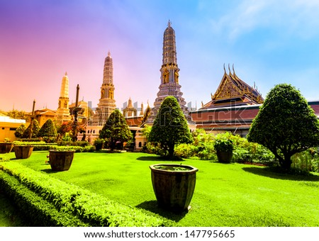 Bangkok luxurious royal palace and garden, Thailand - stock photo