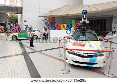 BANGKOK - MAR 23: View of Google Maps cars on view in central Bangkok as the internet giant announces the Thai capital has been added to its Street View utility on Mar 23, 2012 in Bangkok, Thailand.  - stock photo