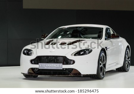 BANGKOK - MARCH 27 : ASTON MARTIN V 12 VANTAGE S at The 35th Bangkok International Motor Show - [Beauty in the Drive] on March 27, 2014 in Bangkok, Thailand.