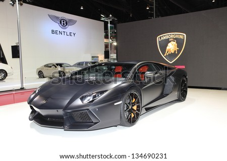 BANGKOK - MARCH 26: Black Lamborghini car on display at The 34 th Bangkok International Motor Show on March 26, 2013 in Bangkok, Thailand. - stock photo