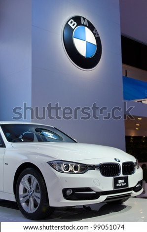 BANGKOK - MARCH 31:  BMW 320d car on display at The 33th Bangkok International Motor Show on March 31, 2012 in Bangkok, Thailand.