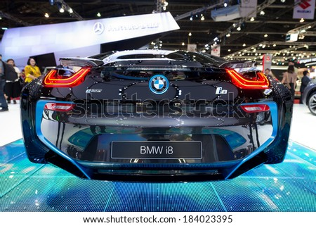 BANGKOK - MARCH 25 : BMW i8 hybrid production car on display at The 35th Bangkok International Motor Show on March 25, 2014 in Nonthaburi, Thailand.