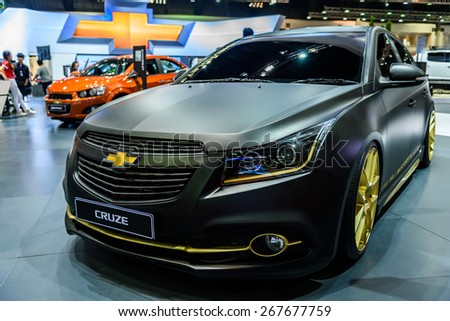 "BANGKOK - MARCH 24 : Chevrolet Cruze on display at The 36th Bangkok International Motor Show ""Art of Auto"" on March 24, 2015 in Bangkok, Thailand. - stock photo"