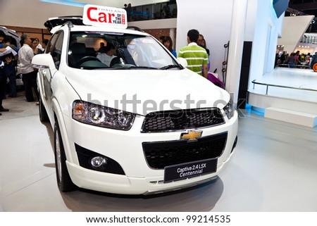 BANGKOK - MARCH 31 : Chevroret Cruze LT on display in Challenger Hall, Impact Muangthong Thani,The 33 rd Bangkok International Motor Show in Bangkok,Thailand on March 31 , 2012. - stock photo