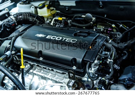 "BANGKOK - MARCH 24 : Engine Chevrolet Cruze on display at The 36th Bangkok International Motor Show ""Art of Auto"" on March 24, 2015 in Bangkok, Thailand. - stock photo"