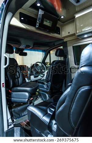 "BANGKOK - MARCH 24 : Inside Airstream Created and Designed Mercedes Benz Coach on display at The 36th Bangkok International Motor Show ""Art of Auto"" on March 24, 2015 in Bangkok, Thailand. - stock photo"