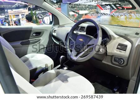BANGKOK - March 26 : Interior design of Passenger room of Chevrolet Spin, mini MPV, on DisPlay at 36th Bangkok International Motor Show 2015, on March 26, 2015 in Bangkok, Thailand. - stock photo