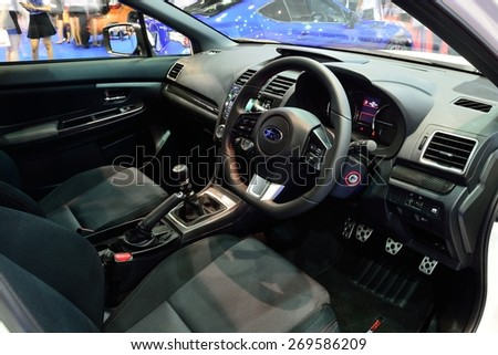 BANGKOK - March 26 : Interior design of Subaru WRX Sedan Car on Display at Bangkok International Motor Show on March 26, 2015 in Bangkok, Thailand. - stock photo