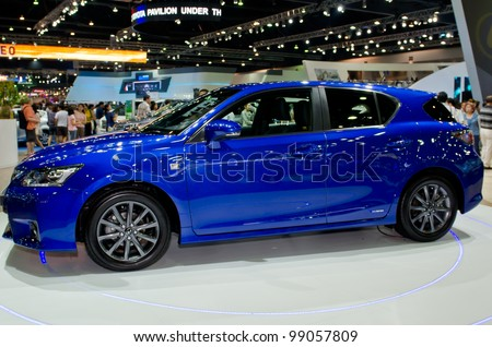 BANGKOK - MARCH 31: Lexus CT 200h car  on display at The 33th Bangkok International Motor Show on March 31, 2012 in Bangkok, Thailand. - stock photo
