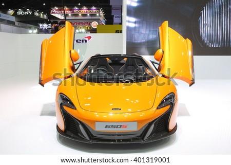 Bangkok - March 31 : Mckaren on orange car at The 37th Bangkok International Thailand Motor Show 2016 on March 31, 2016 in Bangkok, Thailand - stock photo