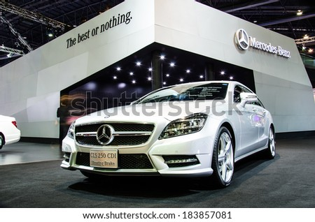 BANGKOK - MARCH 24: Mercedes-Benz CLS 250 CDI Shooting Brake car on display at The 35th Bangkok International Motor Show on March 24, 2014 in Bangkok, Thailand. - stock photo