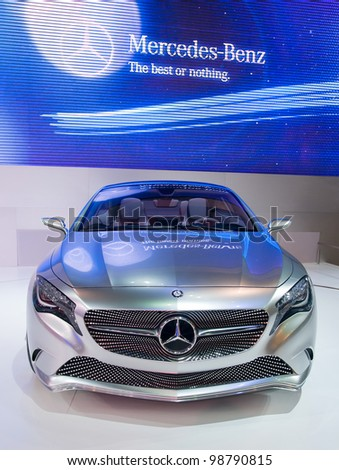 BANGKOK - MARCH 28: Mercedes shows their A concept car at the 33rd Bangkok International Motor Show at Impact Challenger on March 28, 2012 in Bangkok, Thailand.
