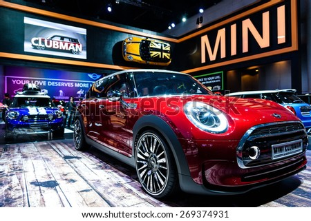 "BANGKOK - MARCH 24 : Mini Clubman on display at The 36th Bangkok International Motor Show ""Art of Auto"" on March 24, 2015 in Bangkok, Thailand. - stock photo"