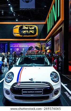 "BANGKOK - MARCH 24 : Mini Hatch 3-Door on display at The 36th Bangkok International Motor Show ""Art of Auto"" on March 24, 2015 in Bangkok, Thailand. - stock photo"
