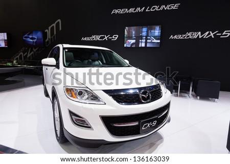 BANGKOK - MARCH 26 : new Mazda CX-9 on display at The 34th Bangkok International Motor Show 2013 in Bangkok, Thailand. - stock photo