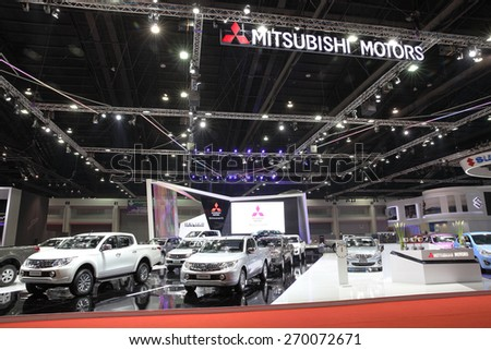 BANGKOK - MARCH 25: Showroom of Mitsubishi car  at The 36 th Bangkok International Motor Show on March 25, 2015 in Bangkok, Thailand. - stock photo