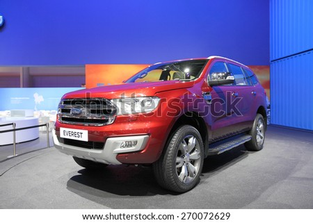 BANGKOK - MARCH 25: Side of Ford Everest car on display at The 36 th Bangkok International Motor Show on March 25, 2015 in Bangkok, Thailand. - stock photo