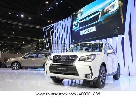 Bangkok - March 31 : Subaru Forester 2.0 XT on white car at The 37th Bangkok International Thailand Motor Show 2016 on March 26, 2016 in Bangkok, Thailand - stock photo