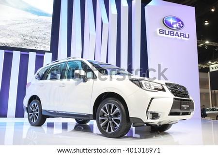 Bangkok - March 31 : Subaru Forester 2.0 XT on white car at The 37th Bangkok International Thailand Motor Show 2016 on March 31, 2016 in Bangkok, Thailand - stock photo