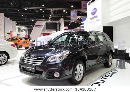BANGKOK - MARCH 25 : Subaru Outback 2.5i car on display at The 35th Bangkok International Motor Show 2014 on March 25, 2014 in Bangkok, Thailand.