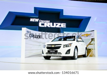 BANGKOK - MARCH 26 : The Chevrolet Cruze car on display at The 34th Bangkok International Motor Show 2013 on March 26, 2013 in Bangkok, Thailand. - stock photo