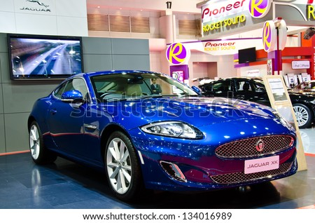 BANGKOK - MARCH 26 : The Jaguar XK car on display at The 34th Bangkok International Motor Show 2013 on March 26, 2013 in Bangkok, Thailand. - stock photo