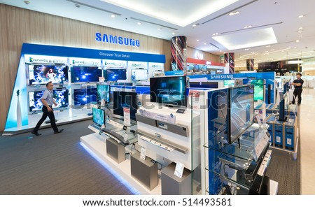 BANGKOK - MARCH 17, 2016: The Samsung store in the Siam Paragon Shopping mall. Samsung Electronics Co., Ltd. is the worlds second largest information technology company by revenue, after Apple.