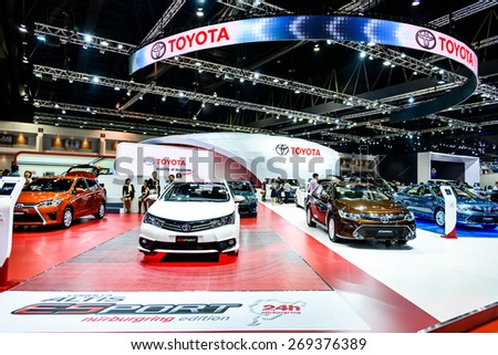"BANGKOK - MARCH 24 : Toyota booth at The 36th Bangkok International Motor Show ""Art of Auto"" on March 24, 2015 in Bangkok, Thailand. - stock photo"