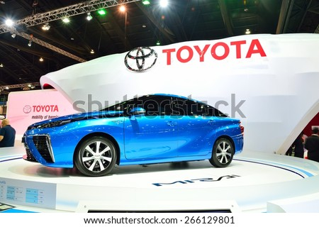BANGKOK - March 26 : Toyota Mirai, Hydrogen engine Vehicle, on DisPlay at 36th Bangkok International Motor Show on March 26, 2015 in Bangkok, Thailand. - stock photo